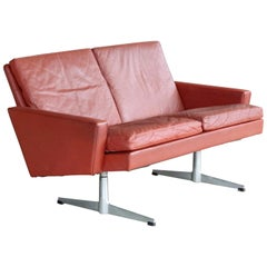 Danish 1960s  Two-Seat Airport Sofa or Loveseat in Red Leather