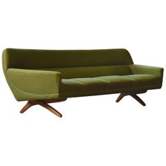 Danish 1960s Large Curved Sofa with Teak Scissor Legs by Leif Hansen