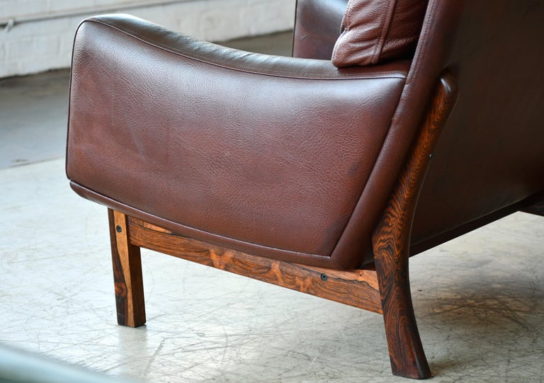 Danish 1960s Lounge Chair in Brown Leather and Rosewood by Erhardsen & Andersen For Sale 5