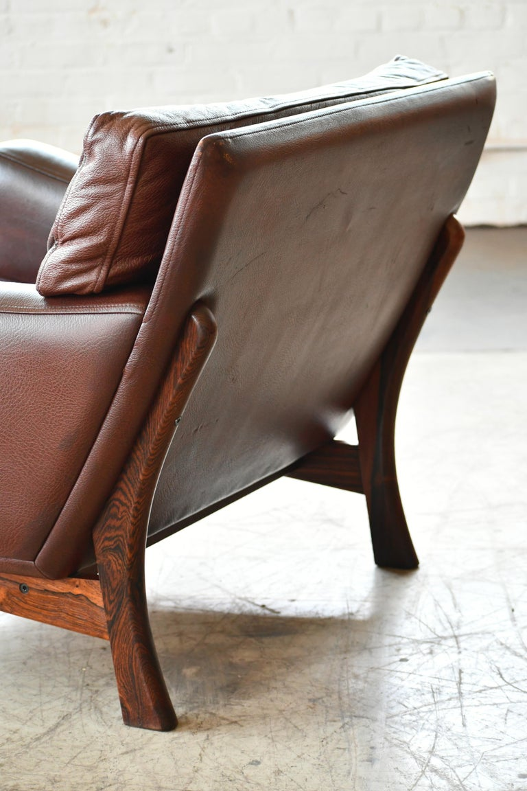 Danish 1960s Lounge Chair in Brown Leather and Rosewood by Erhardsen & Andersen For Sale 6