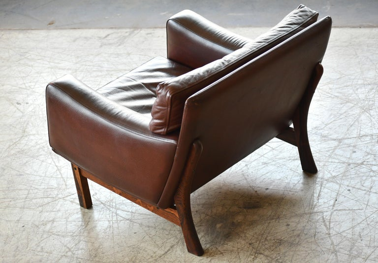 Danish 1960s Lounge Chair in Brown Leather and Rosewood by Erhardsen & Andersen For Sale 7