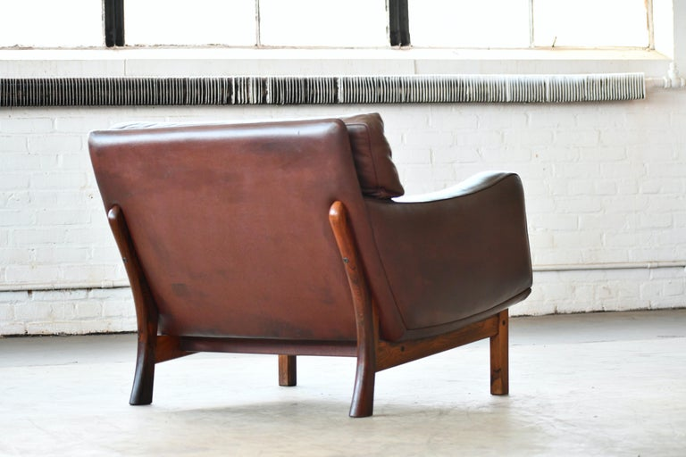 Danish 1960s Lounge Chair in Brown Leather and Rosewood by Erhardsen & Andersen For Sale 8