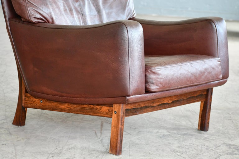 Danish 1960s Lounge Chair in Brown Leather and Rosewood by Erhardsen & Andersen For Sale 2