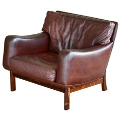 Danish 1960s Lounge Chair in Brown Leather and Rosewood by Erhardsen & Andersen