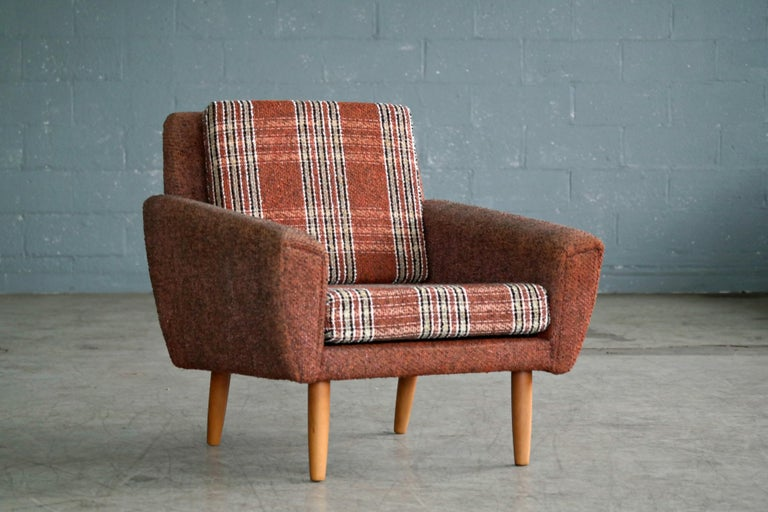 Danish 1960s Pair of Kurt Ostervig Style Easy Lounge Chairs Original Wool For Sale 1