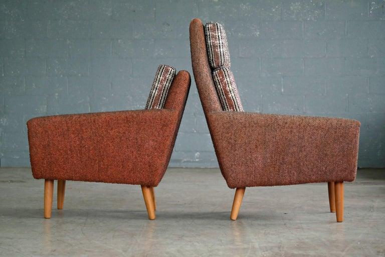 Danish 1960s Pair of Kurt Ostervig Style Easy Lounge Chairs Original Wool For Sale 3