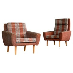 Danish 1960s Pair of Kurt Ostervig Style Easy Lounge Chairs Original Wool