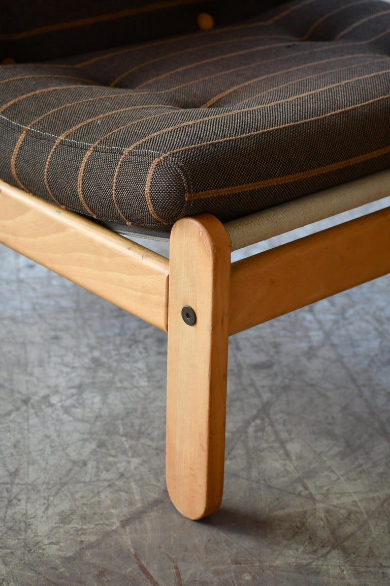 Canvas Danish 1960s Rag Chair in Oak by Bernt Petersen for Chiang For Sale
