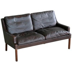 Danish 1960s Slim Profile Two-Seat Sofa in Espresso Leather by Georg Thams