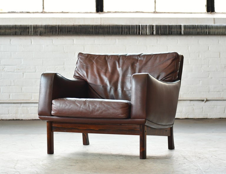Danish 1960s Sofa in Brown Leather and Rosewood by Erhardsen & Andersen For Sale 8