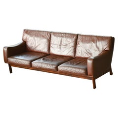 Danish 1960s Sofa in Brown Leather and Rosewood by Erhardsen & Andersen