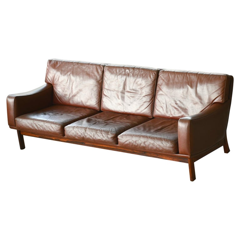 Danish 1960s Sofa in Brown Leather and Rosewood by Erhardsen & Andersen For Sale