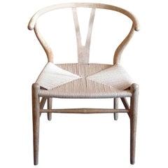 Danish 1960s White Oak Wishbone Armchair With Rush Seat