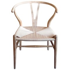 Danish 1960s White Oak Wishbone Armchair with Rush Seat