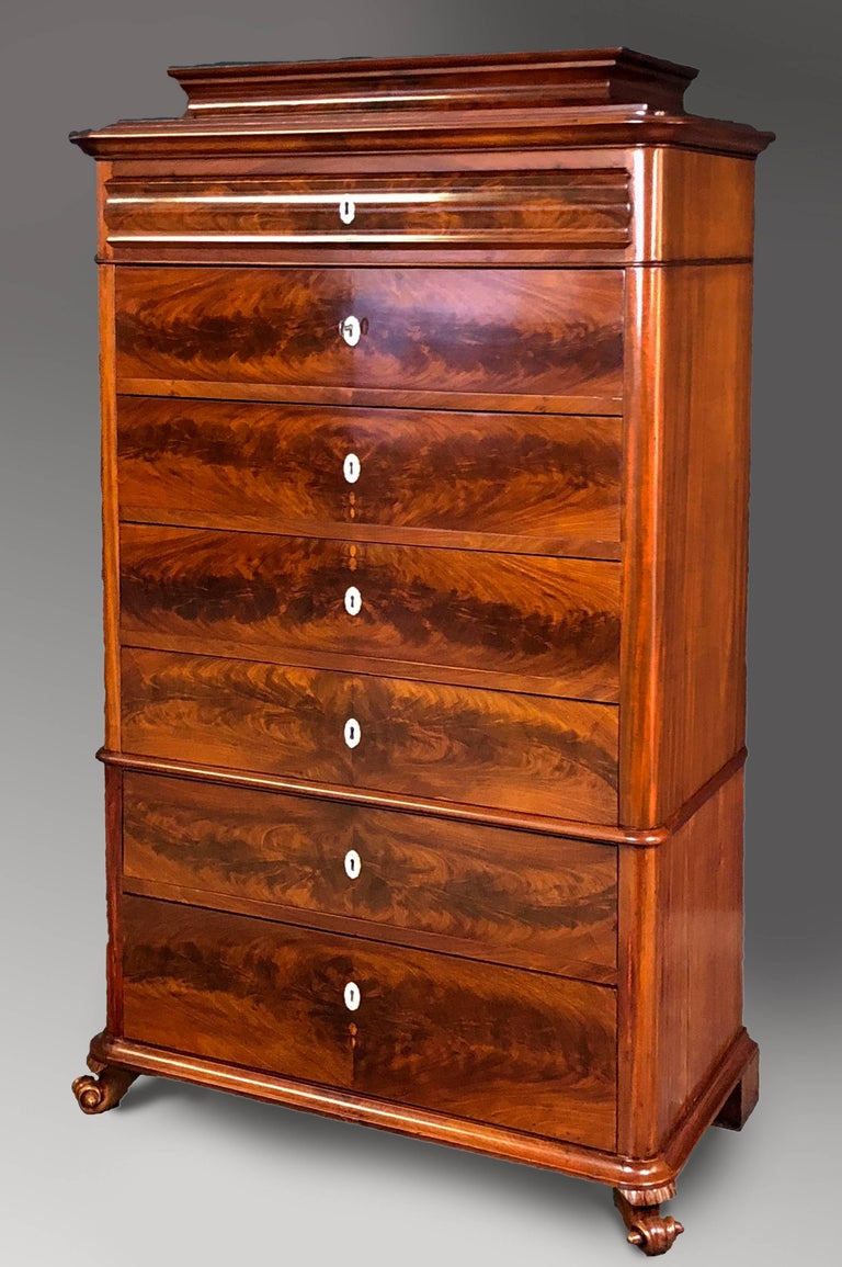 Veneer Danish Mid 19th Century Biedermeier Commode Tall Chest of drawers For Sale