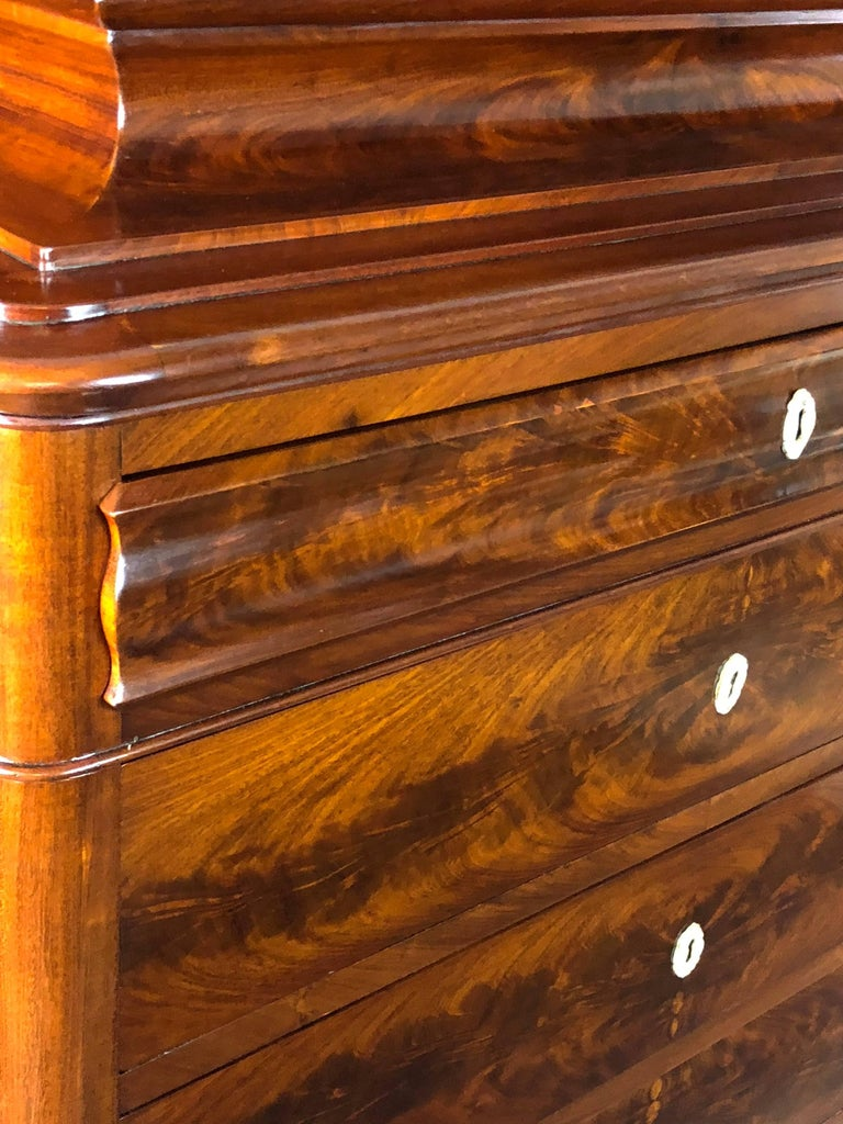 Danish Mid 19th Century Biedermeier Commode Tall Chest of drawers In Excellent Condition For Sale In Santander, ES