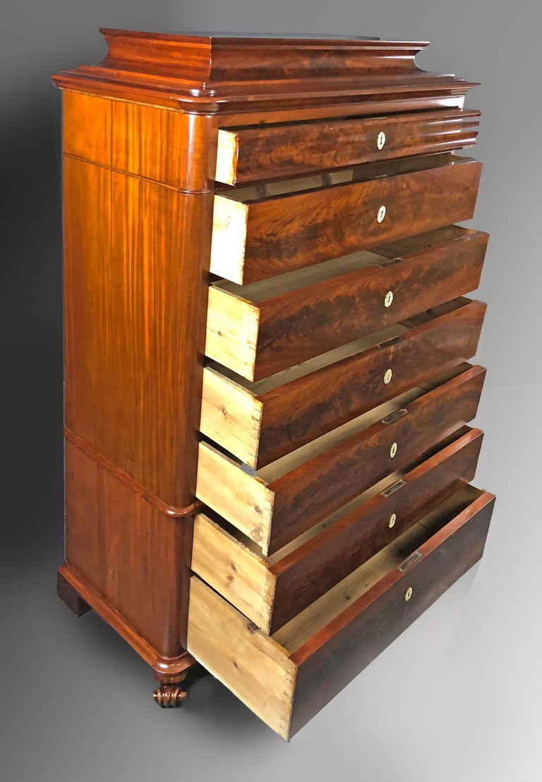 Danish Mid 19th Century Biedermeier Commode Tall Chest of drawers For Sale 1