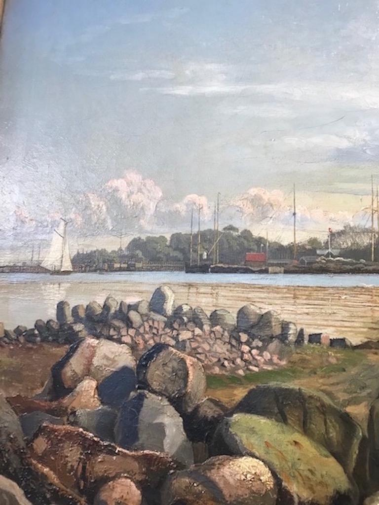 Canvas Danish 19th Century Coastal Landscape Painting by Carl Lund For Sale