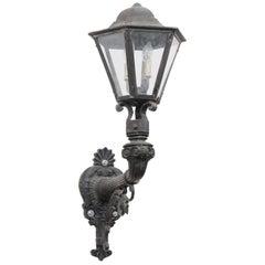 Danish 19th Century Iron Four-Light Wall Sconce with Hexagonal Glass Lantern
