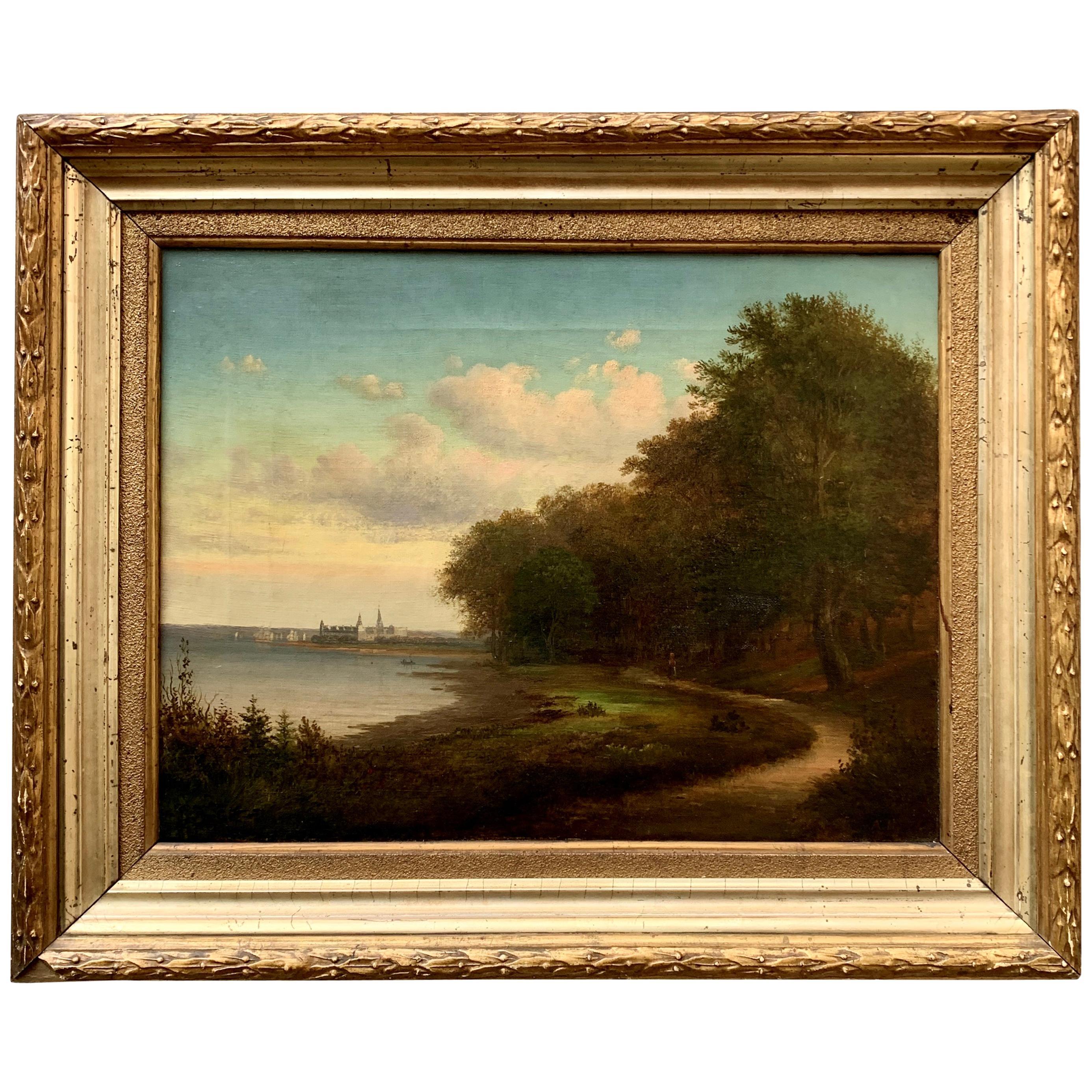 Danish 19th Century Oil Painting of Kronborg Castle in Original Gilded Frame