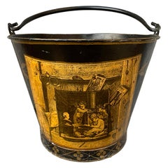 Danish 19th Century Trompe-l'œi Decorated Painted Tole Bucket