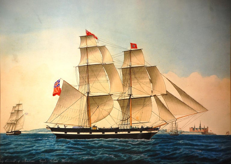 Danish original 19th century watercolor and ink portrait of the two masted brig