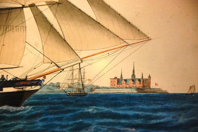 Danish 19th Century Watercolor Portrait of the Brig