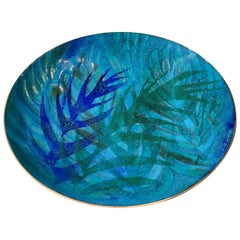 Danish Abstract Enamel Art Dish by K. K. Worz, 1970s