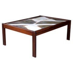 Danish Abstract Expressionist Stoneware Rosewood Coffee Table Mid-Century Modern