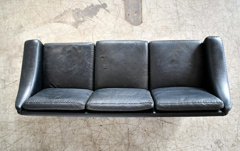 Danish Airport Style Sofa Model Matador in Black Leather by ERAN in 1966 For Sale 6