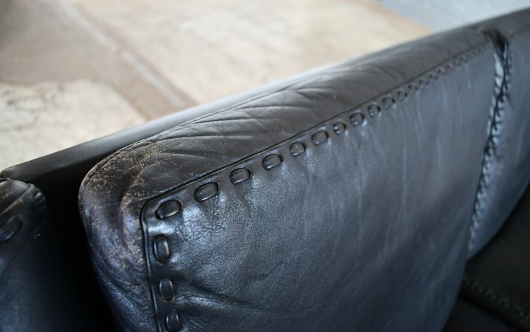 Danish Airport Style Sofa Model Matador in Black Leather by ERAN in 1966 For Sale 9