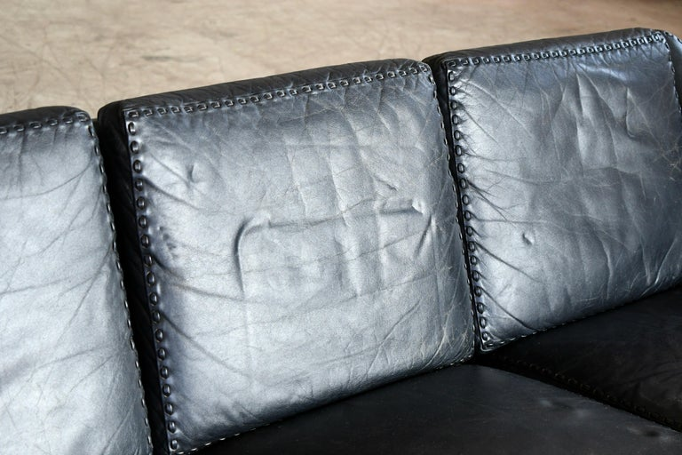 Danish Airport Style Sofa Model Matador in Black Leather by ERAN in 1966 For Sale 3