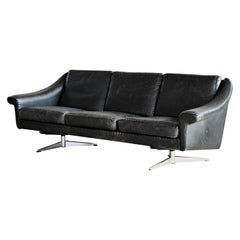 Danish Airport Style Sofa Model Matador in Black Leather by ERAN in 1966