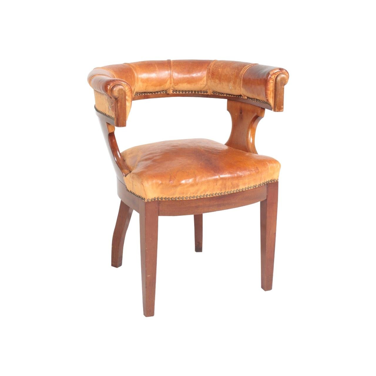 Danish Armchair in Patinated Leather Cuban Mahogany, 1930s