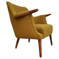 Danish Armchair, 1955-1960, Wool, Teak Wood, Completely Restored
