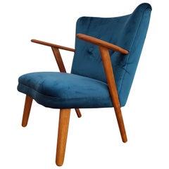 Danish Armchair, 1960s, Velour, Teak Wood, Completely Restored