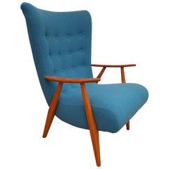 Danish Armchair, 1960s, Wool, Beech, Completely Restored