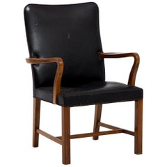 Danish Armchair by Jacob Kjær, in Leather and Mahogany, circa 1960