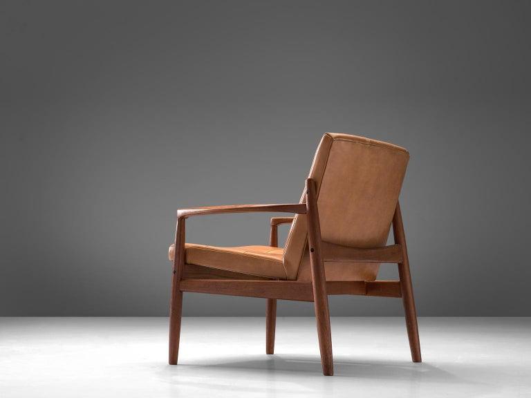 Scandinavian Modern Danish Armchair in Cognac Leather For Sale