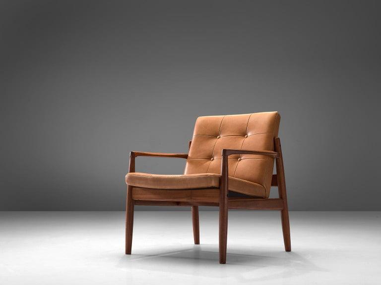 Danish Armchair in Cognac Leather In Good Condition For Sale In Waalwijk, NL