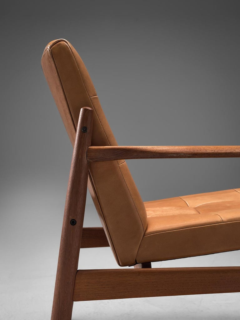 Mid-20th Century Danish Armchair in Cognac Leather For Sale