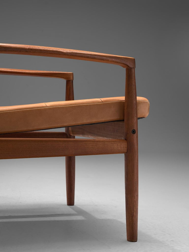 Danish Armchair in Cognac Leather For Sale 1