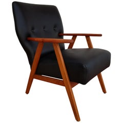 Danish Armchair, Leather, Teakwood, 1960s, Completely Restored