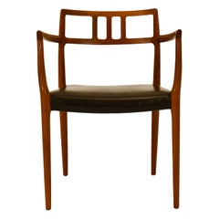 Danish Armchair Niels Moller Model 64 Teak Leather Original Mid-Century 1960s
