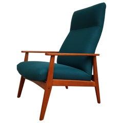 Danish Armchair, Swing Function, Wool, Teak Wood, 1960s, Completely Restored
