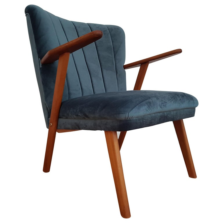 Danish Armchair, Velour, 1960s, Completely Restored For Sale