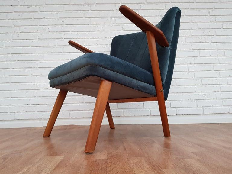 Danish Armchair, Velour, 1960s, Completely Restored For Sale 5