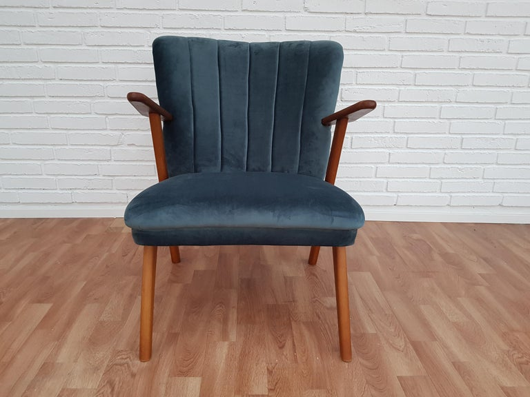 Danish Armchair, Velour, 1960s, Completely Restored For Sale 6