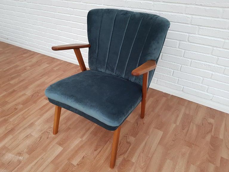Danish Armchair, Velour, 1960s, Completely Restored For Sale 7