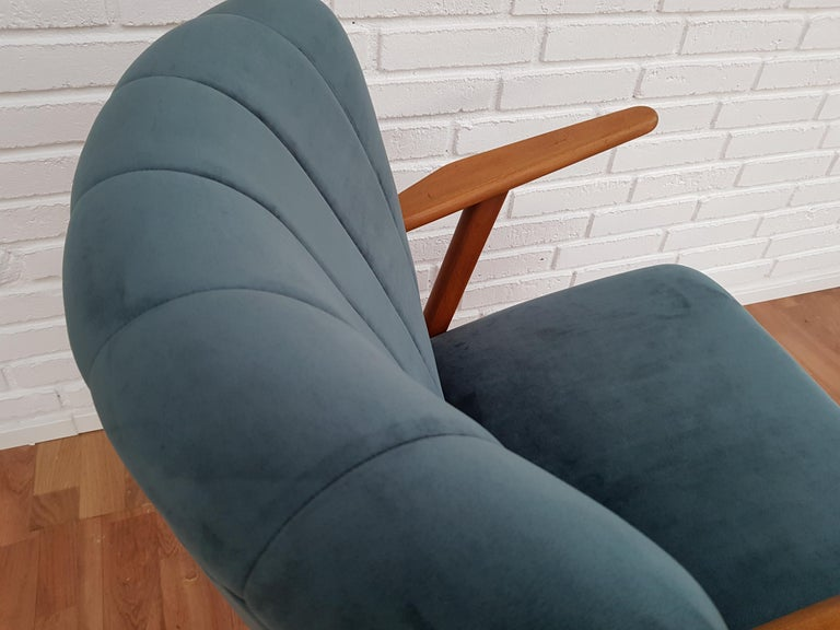 Stained Danish Armchair, Velour, 1960s, Completely Restored For Sale